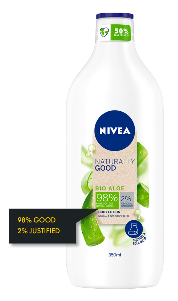 a nivea consumer product informing with goodness data on the front label